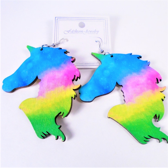 "3"" Multi Color Unicorn Wood Earrings  .54 per pair"