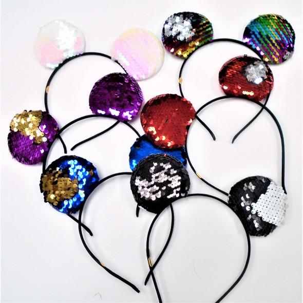 Popular Change Color Sequin Cat's Ear Headbands  .56 each
