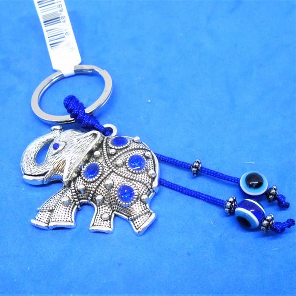 Cast Silver Crystal Stone Elephant Keychain w/ Eye Bead 12 per pk  .56 each
