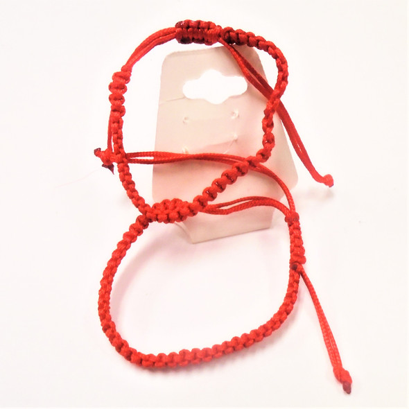 Infant /Kid Size  2 Pack All Red Macrame Bracelets   .54 per set