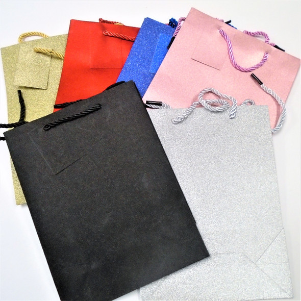 """7"""" X 9.5"""" Metallic Finish Gift Bags w/ Tag Asst Color .50 each"""