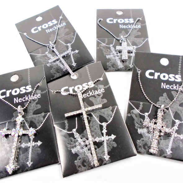 Silver Chain Necklace w/ Cry. Stone Cross Pendant 36 per display .85 each