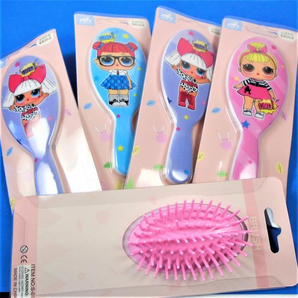 "5"" Colorful Cute Sassy Girl Theme Hair Brushes  .60 ea"