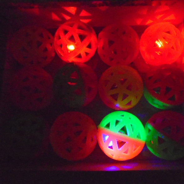 "2.5"" Neon Color Light Up Bounce Balls w/ Bell  12 per pk .60 each"