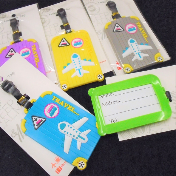 "4"" Colorful Airplane Theme  Luggage Tags 12 per pk .58 each"