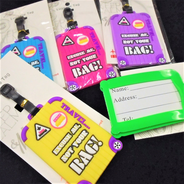 "4"" Not Your Bag  Theme  Luggage Tags 12 per pk .58 each"