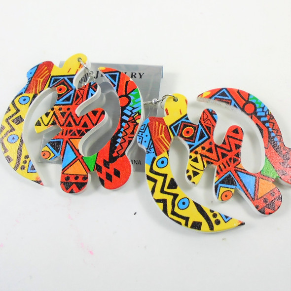 African Print Symbol Multi Color Wood Earrings .54 per pair