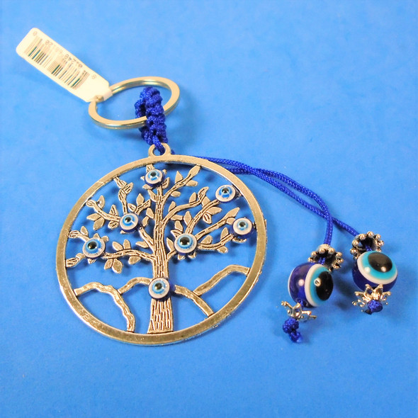 """2.25"""" Silver Tree of Life Metal Keychains w/ Eye of Protection Beads .58 each"""