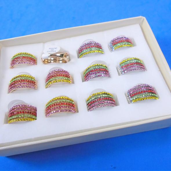 Gold &  Silver 5 Line Fashion Rings w/ Mini Stones 12 per display bx .56 each