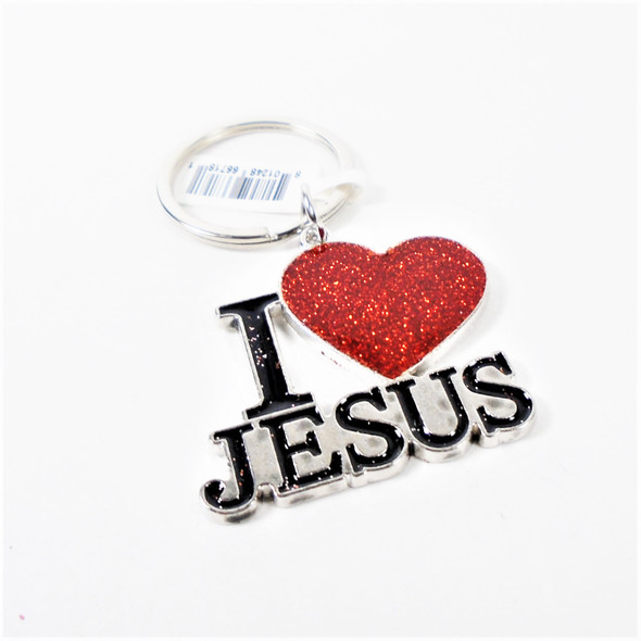 "Great Quality 2"" I Love Jesus Cast Keychains Lihgt Glitter  12 per pk .56 each"