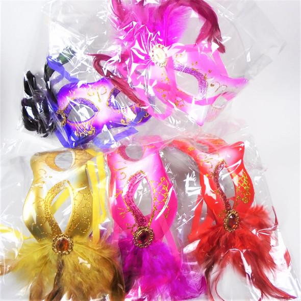 Party Mask w/ Faux Side Feathers Asst Colors (133A)  .56 each