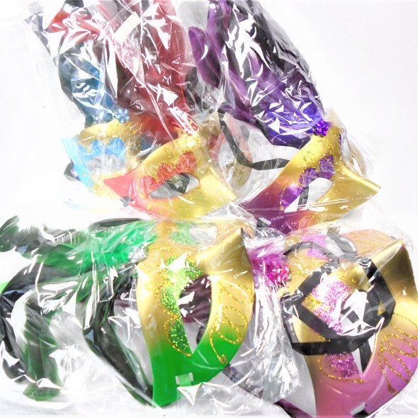 Party Mask w/  Side Feathers & Glitter Asst Colors (133B)  .56 each