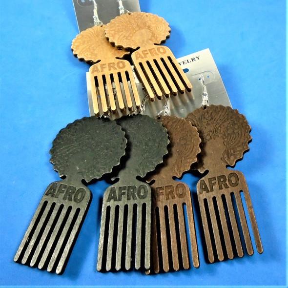 "3"" Afro Engraved Wood Earrings w/ Hair Pic 3 colors .54 per pair"