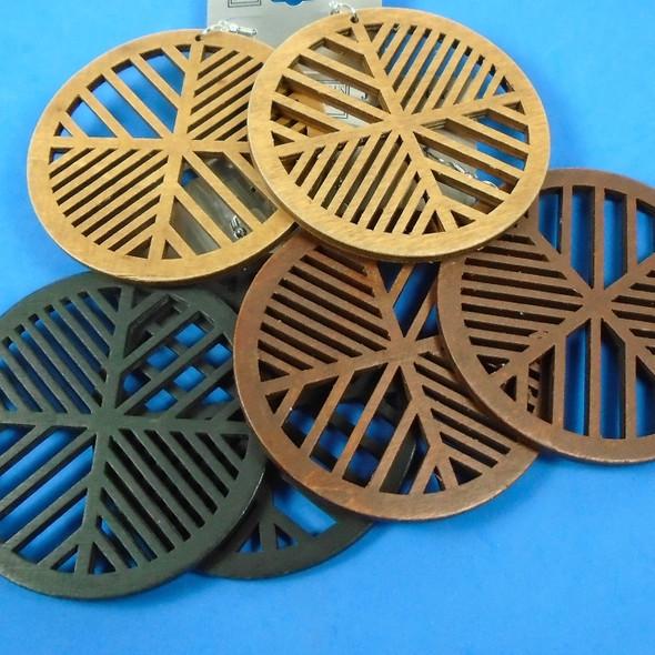 "3"" Round Laser Cut Wood Earrings 3 colors  .54 per pair"