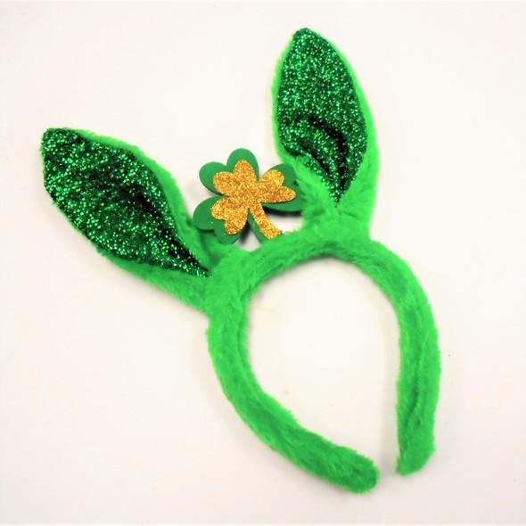 """10"""" Tall  St. Patrick's Day Novelty Headbands Sparkle Bunny Ears 12 per pk .62 ea"""