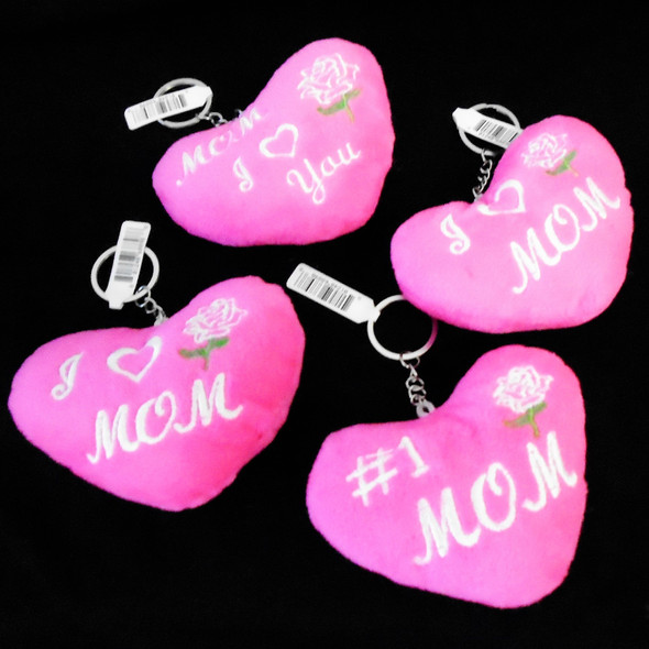 """4"""" Plush Pink Heart Embroidered MOM  Theme  Keychain 12 per pk .62 each"""