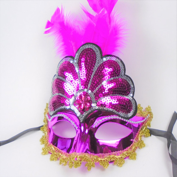 Party Mask Sequin Style w/ Feathers  Asst Colors (1106)  .56 each