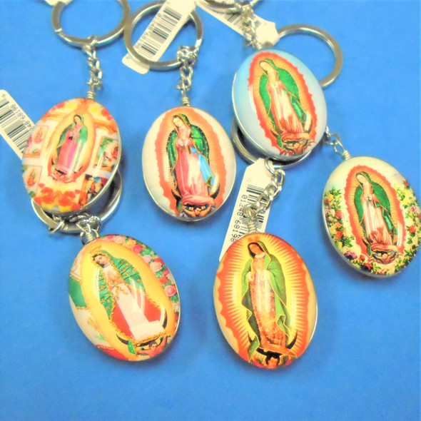 """2"""" Glass DBL Sided Keychains Guadalupe Theme 6-Styles  12 pk .56 each"""