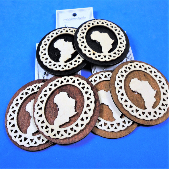 "2.75"" Oval Wood Earring w/ Africa Map w/ Trim  .54 per pair"