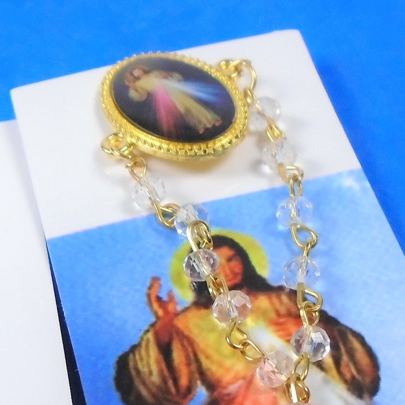 "3"" Divine Mercy Tac Pin w/ Chain & Dangle Cross 12 per pk .54 ea"