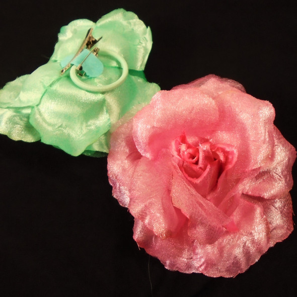 "5"" 3 in 1 Silk Flower w/ Chiffon Gator Clip,Pony Oh, Pin SHINEY  .54 each"