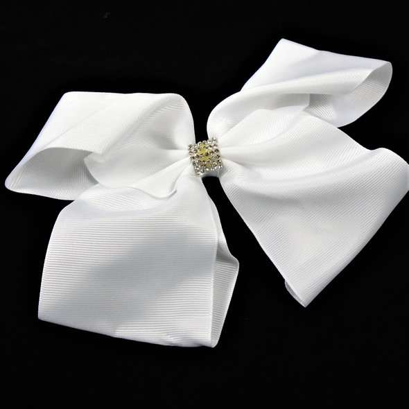 "7"" Jumbo Gator Clip Bows All White  w/ Cry. Stone  Center .65 each"