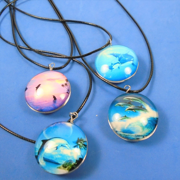 Leather Cord Necklace w/ Glass Pendant Mixed Dolphins  .58 ea