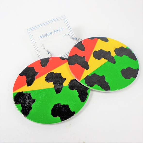 "NEW 2.75"" Round Wood Earrings  Rasta Colors  w/ Mini Africa Maps .54 per pair"