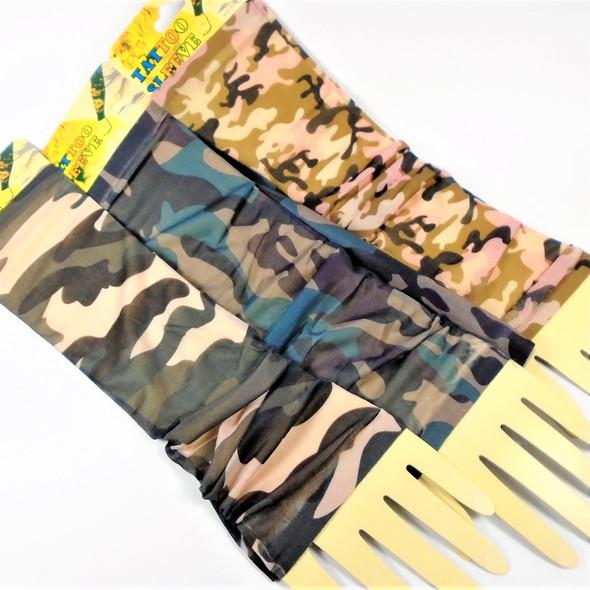 Nylon Printed Tattoo Look Sleeve CAMO Style 12 pair per pk  .58 ea pair