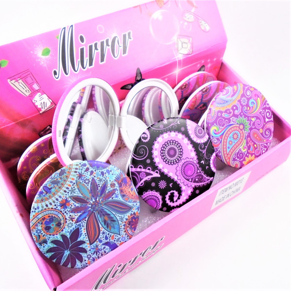 Colorful Paisley Theme Round DBL Compact Mirror in Display (010) .60 each
