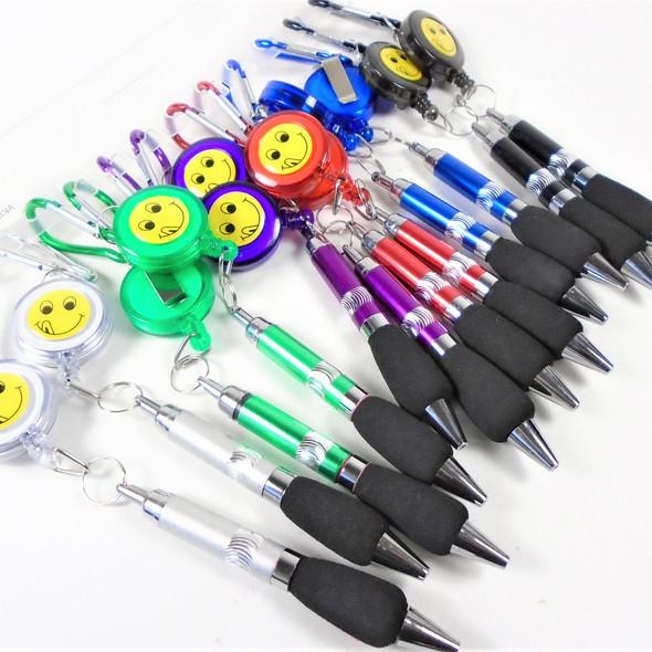 Happy Face  Theme Retrachable Clip On Pen 12 per pk  .56 ea