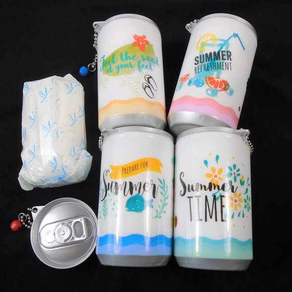 "3.25"" Tall Soda Can Cool Summer Time Theme Keychain  w/ Wet Wipes .65 each"