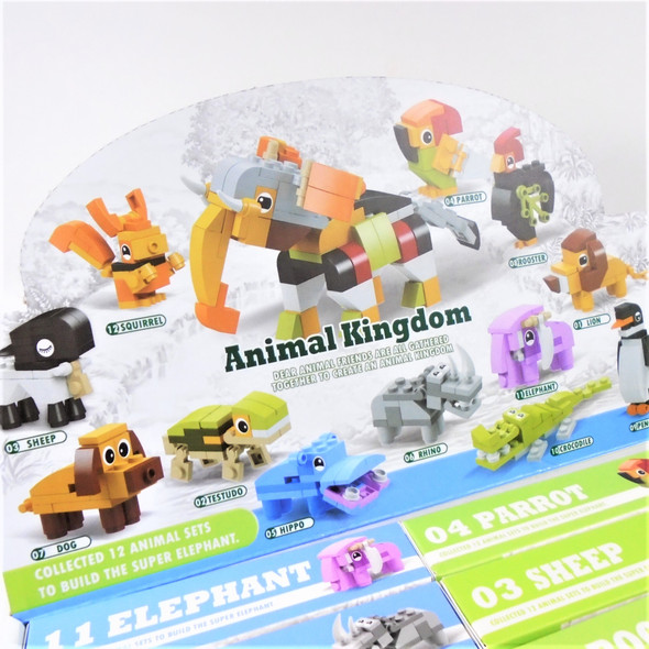 12 in 1 Animal Theme DIY Block Set 12 per display Mixed Styles .65 each set