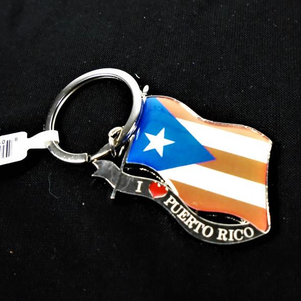 "2"" Metal Silver I Love Puerto Rico Keychains 12 per pk .56 each"