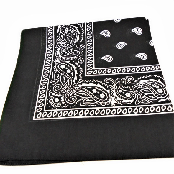 Bandana Black  DBL Sided Printed 100% Cotton .56 each