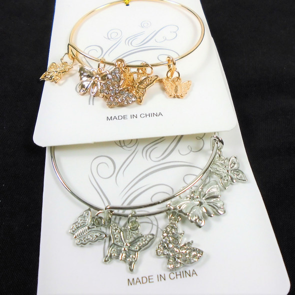 Gold & Silver Wire Bangle Bracelet w/ Butterfly Charms  .58  ea