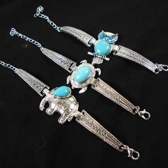 Cast Silver Fashion Bracelet w/ Turquoise Stone 3 mixed Animals  .60 ea