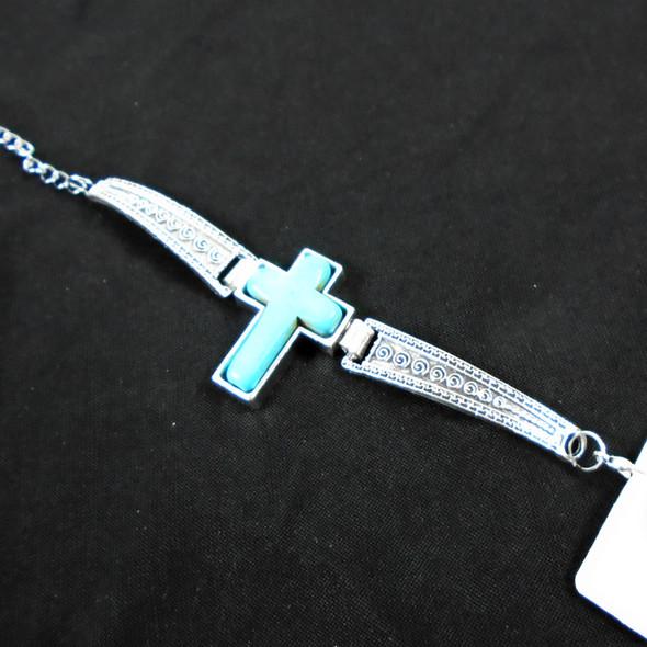 Cast Silver Fashion Bracelet w/ Turquoise Blue Cross   .60 ea