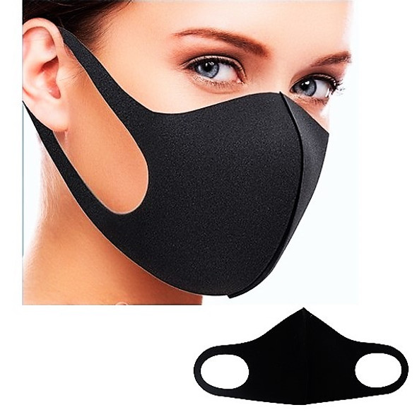 Fashion Face Masks Washable & Reusable ALL BLACK 12 per pk   .58 each