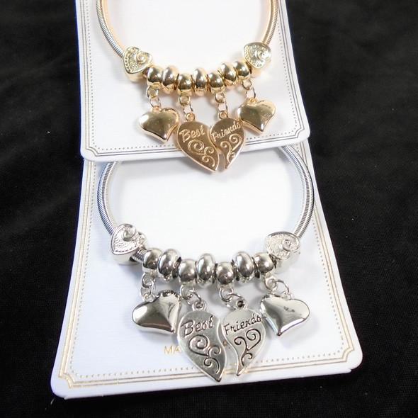 Gold & Silver Spring Style Bracelet w/ Best Friend Theme Charms  .58 each