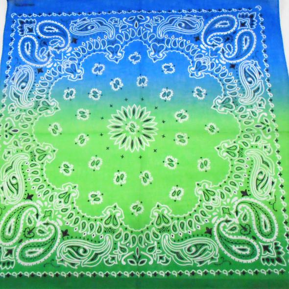 """21"""" Square  Bandana/Mask  Tye Dye Gradiant Blue/Green  .56 each"""