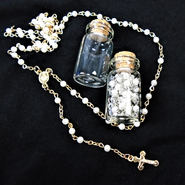 "30"" White Pearl Rosary in Glass Bottle Gold & Silver Chain   .58 ea"