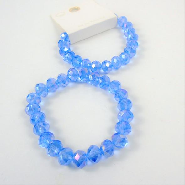 8MM Shiney Metallic Lite Blue Crystal Beaded Stretch Bracelets .65 each