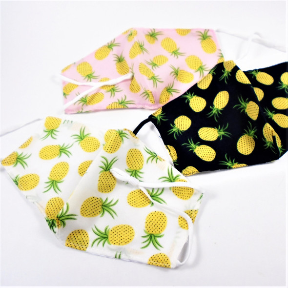 Adjustable 2 Layer w/ Filter Pocket  Protective Face Mask Pineapple Theme $ .50 each