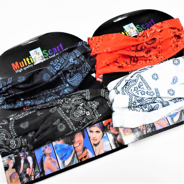 Carded Multifunctional Scarf/Headwear/ Mask  Bandana Print 4 color   .60  each