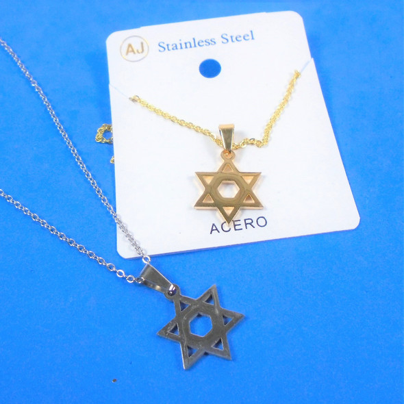 Gold & Silver Stainless Steel w/ Star of David Pend. Necklace   12 per pk  .58 each