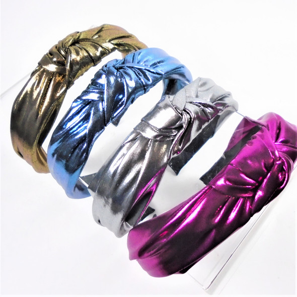 "1.5"" Metallic Fabri 4 Color  Mix  Fashion Headbands w/ Knot (2003R)  .56 each"