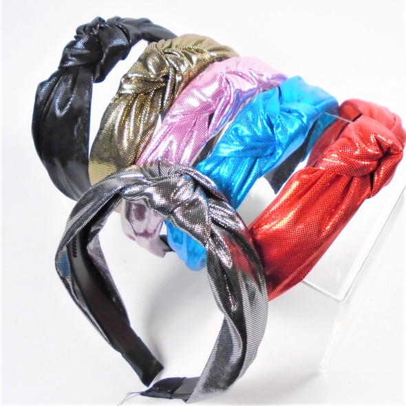 "1.5"" Metallic Fabric 6-Color  Mix  Fashion Headbands w/ Knot (2044)  .56 each"