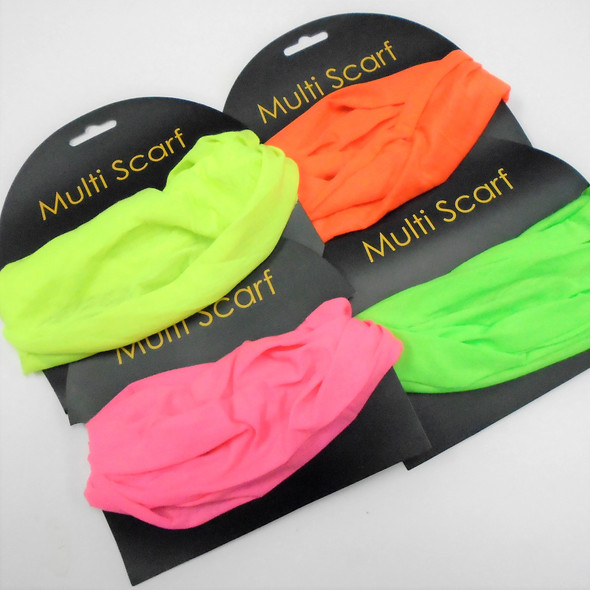 Carded Multifunctional Scarf/Headwear/ Mask  Neon Colors  .60 each