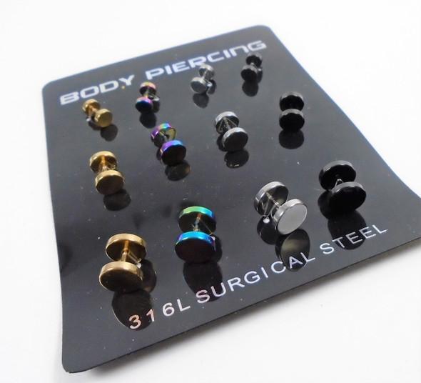 Plug Style Metallic Body Piercing Earrings  12 per card .50 ea